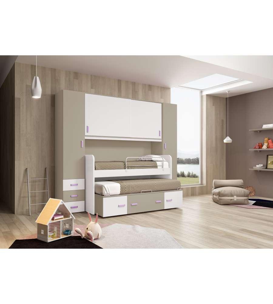 Camera a ponte con 2 colonne colore bianco e visone for Camera da letto a ponte