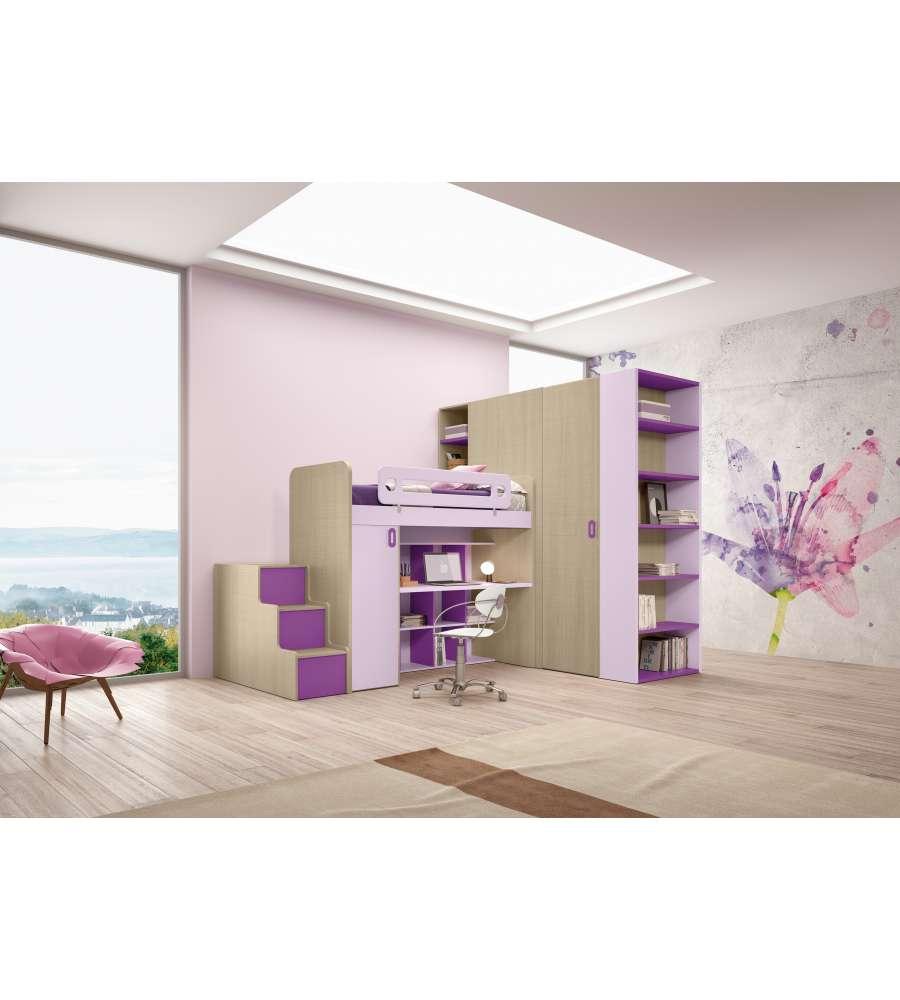 Camera a soppalco sinistro con armadio e scrivania colore - Camere da letto soppalco ...
