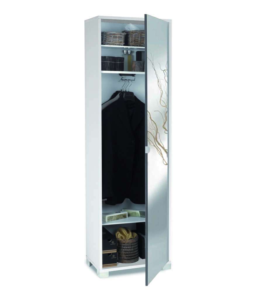 Specchiera Porta Abiti.Mobile 1 Anta Portaabiti Bianco Fiammato Ante Specchio Fume L 55 X H 187 X P 34 Cm