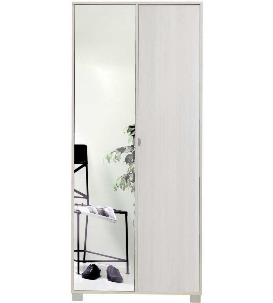 Mobile 2 ante pino con ante specchio naturale x h for Scarpiera a specchio leroy merlin