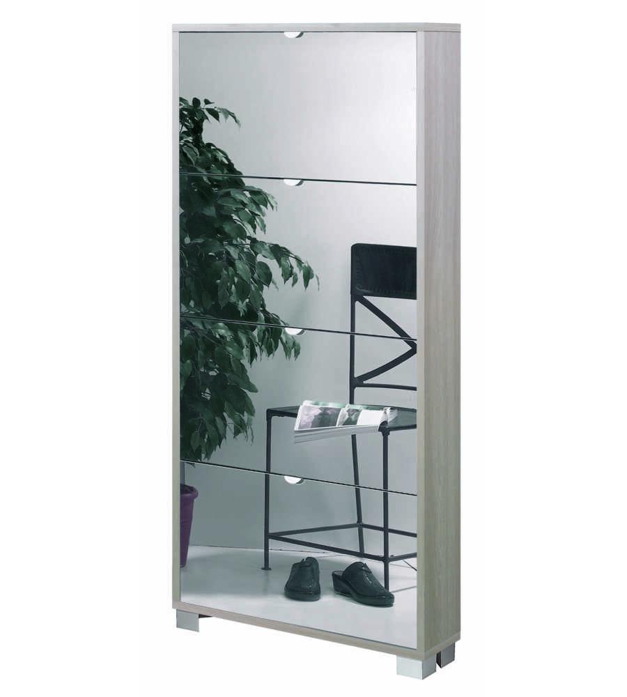 Scarpiera 4 ante specchio profondita 39 18 cm olmo con ante specchio fume 39 x x cm - Scarpiere con specchio ...