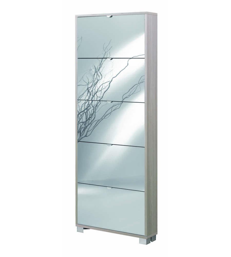 Scarpiera 5 ante specchio profondita 39 18 cm olmo con ante specchio fume 39 x x cm - Scarpiere con specchio ...