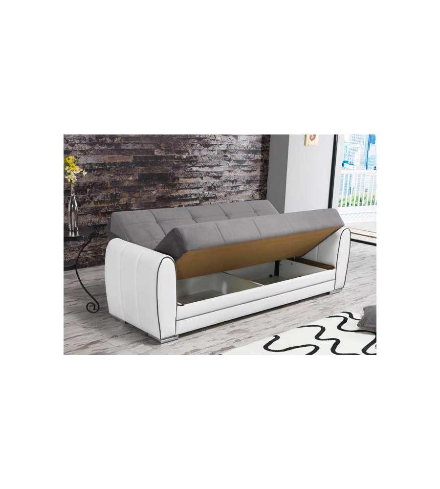 Divano letto lyon ecopelle bianca tessuto grigio l 218 for Divano 90 cm