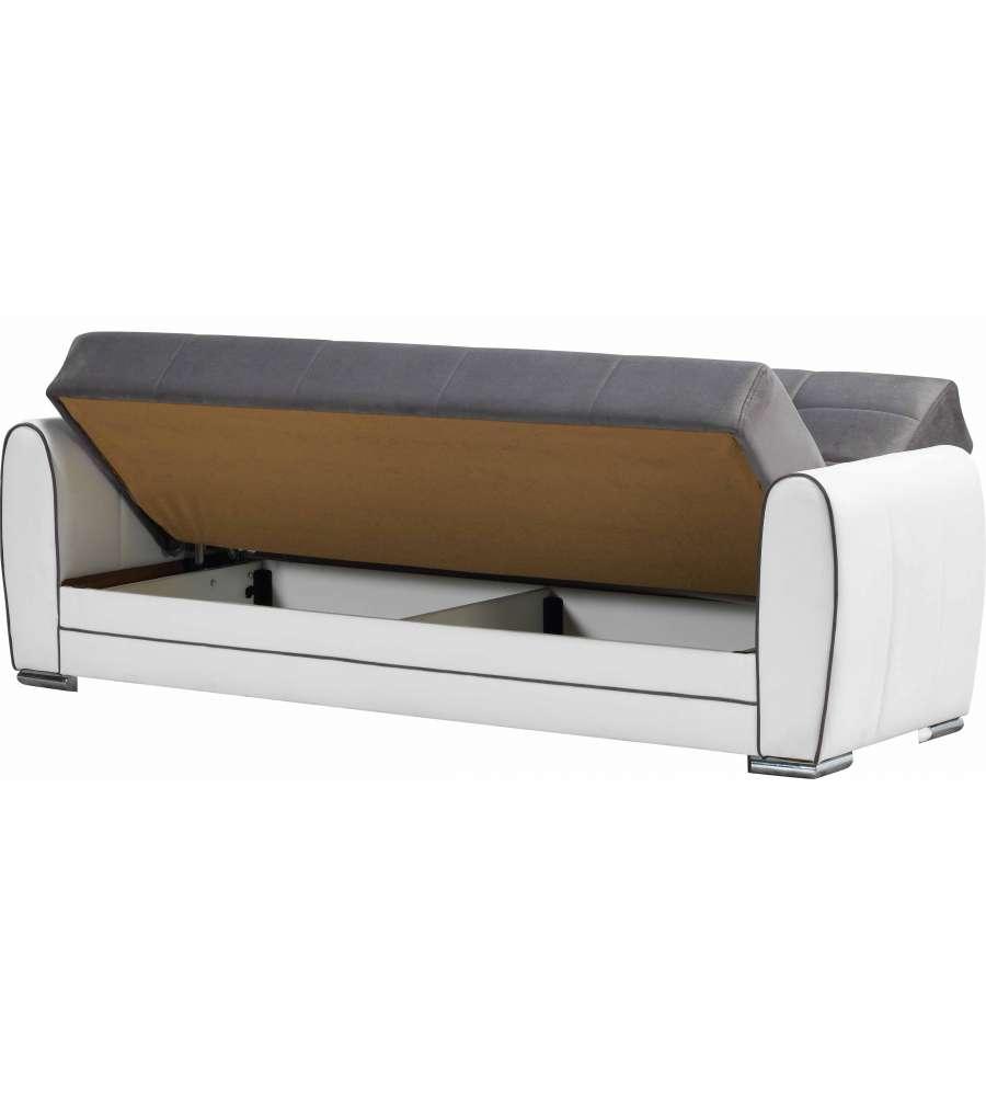 Divano letto lyon ecopelle bianca tessuto grigio l 218 x h 90 x p 83 cm - Pulizia divano ecopelle ...