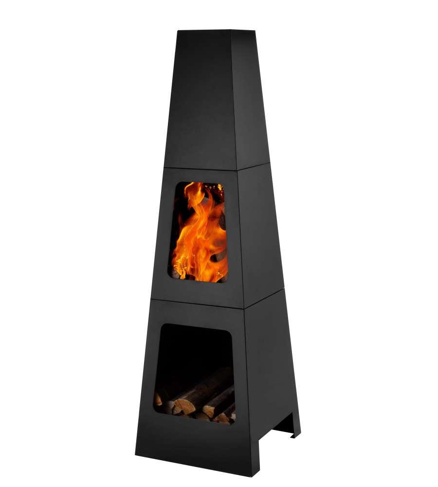 Braciere da esterno con vano portalegna in acciaio a legna o carbone - Braciere da esterno ...