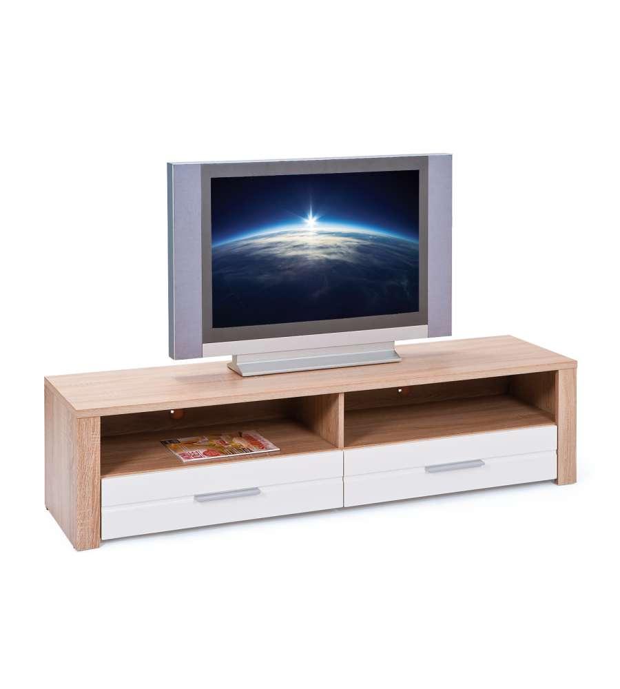 Porta tv rovere con due cassetti bianco laccato - Porta tv bianco ...