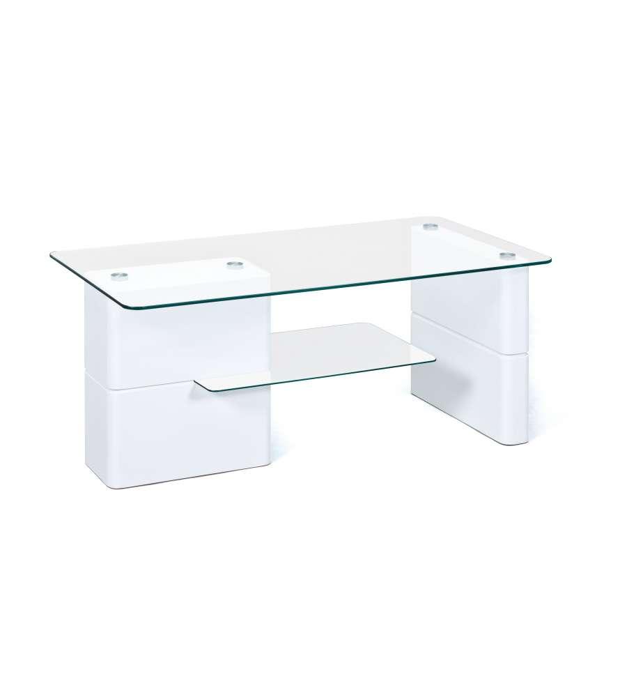Ripiano In Vetro Per Tavolo.Tavolo Basso Laccato Bianco Con Ripiani In Vetro