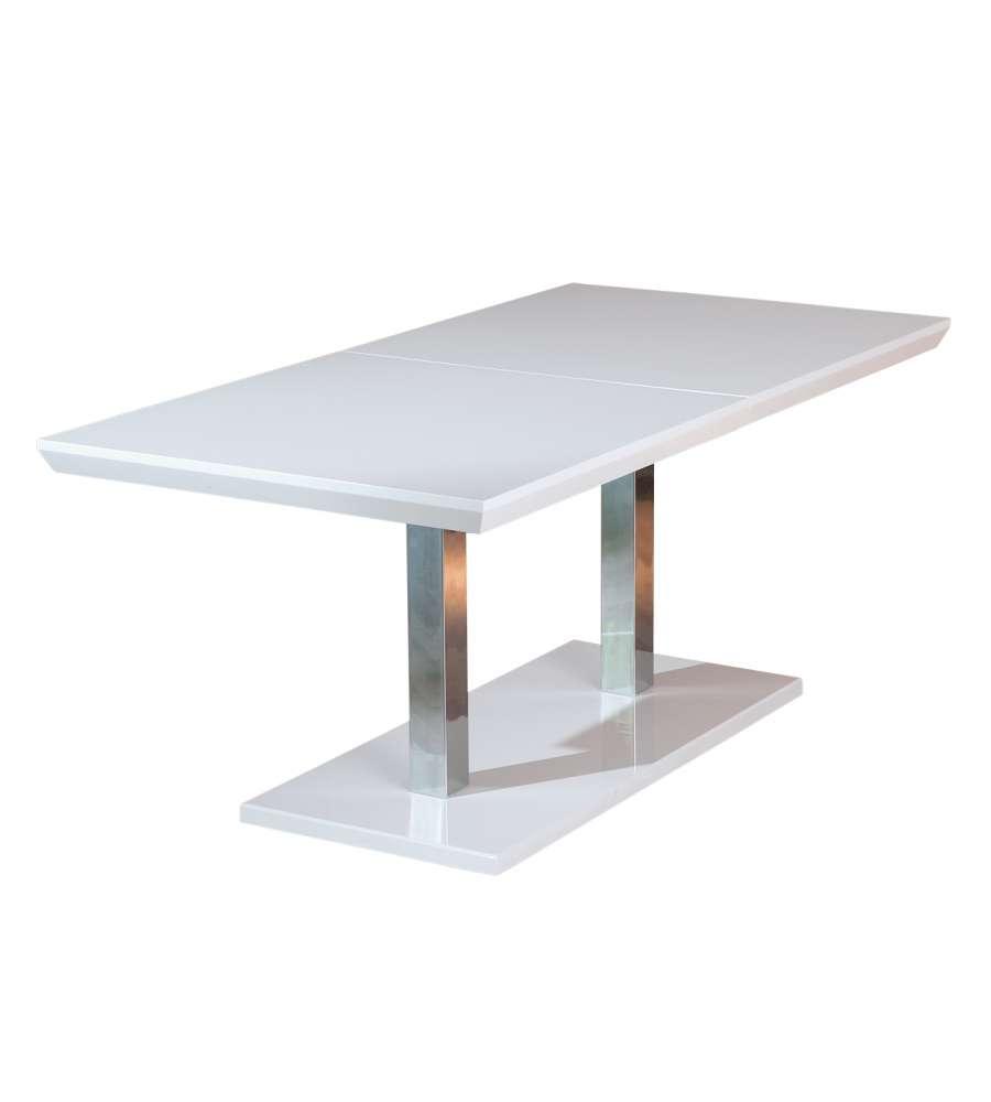 Tavolo Alluminio Laccato Bianco Lucido E Metallo Cromato.