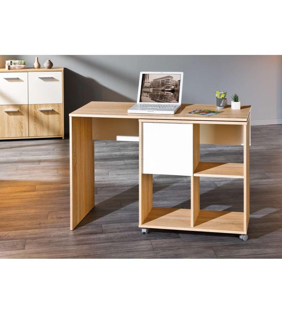 scrivania allungabile con ruote finitura rovere