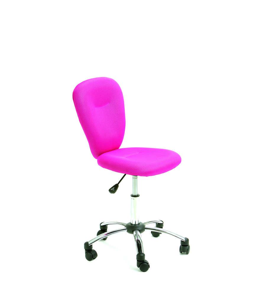 Sedia imbottito colore rosa con ruote in plastica for Sedia rosa