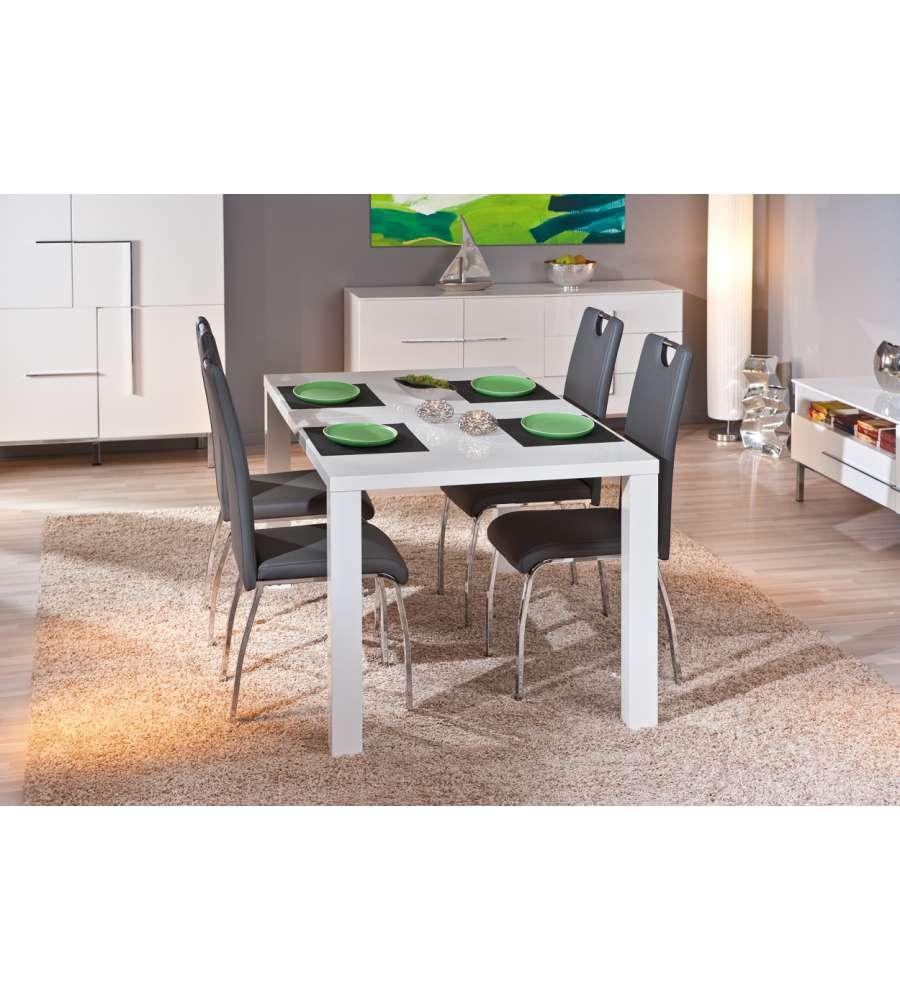 Tavolo alluminio laccato bianco lucido for Tavolo bianco laccato