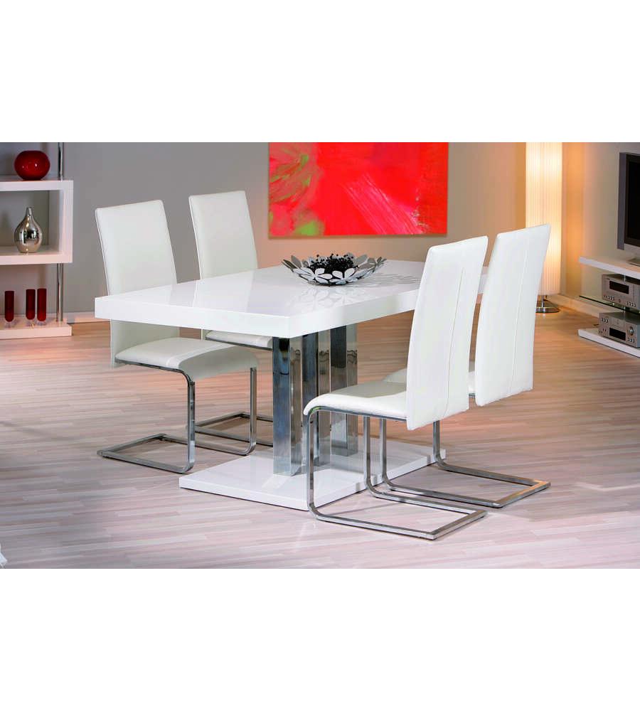 Tavolo laccato bianco lucido e metallo cromato for Tavolo bianco lucido