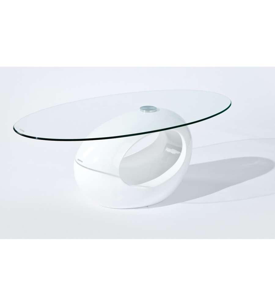 Tavolino In Fibra Di Vetro Bianco Lucido E Vetro Temperato.