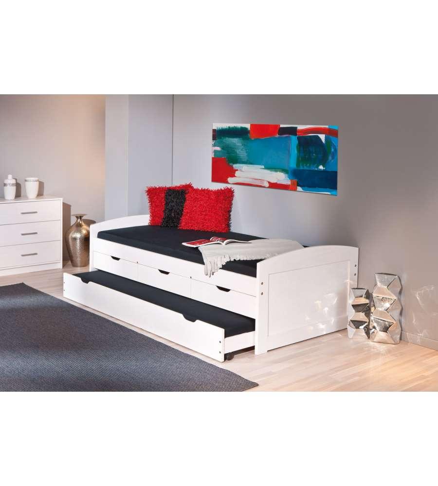 Letto legno massello con cassetti design for Letto design offerta