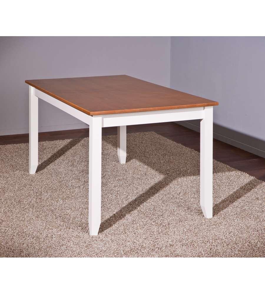 Tavolo in pino massello verniciato ad acqua bianco con top - Tavolo massello ...