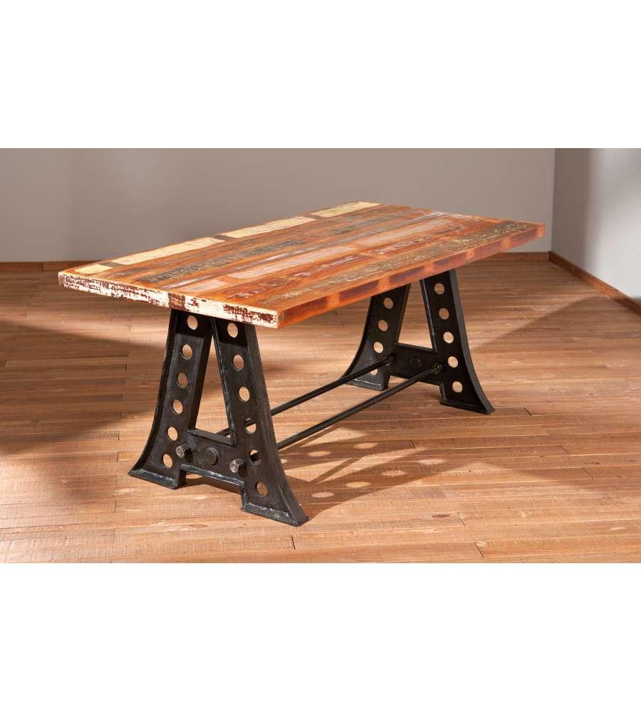 Restaurare Tavolo Legno Rovinato tavolo con top in legno massello e struttura in metallo - prodotto  realizzato a mano.