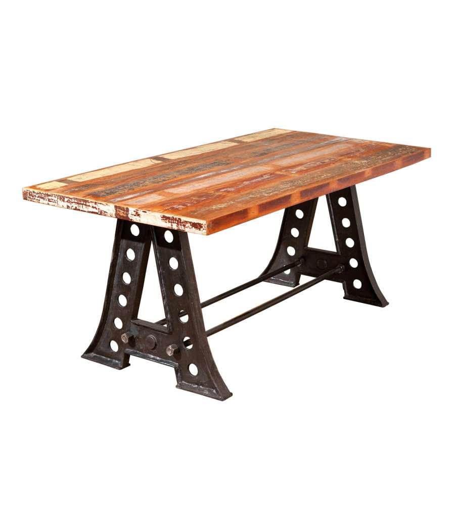 Tavolo con top in legno massello e struttura in metallo - Tavolo legno e metallo ...