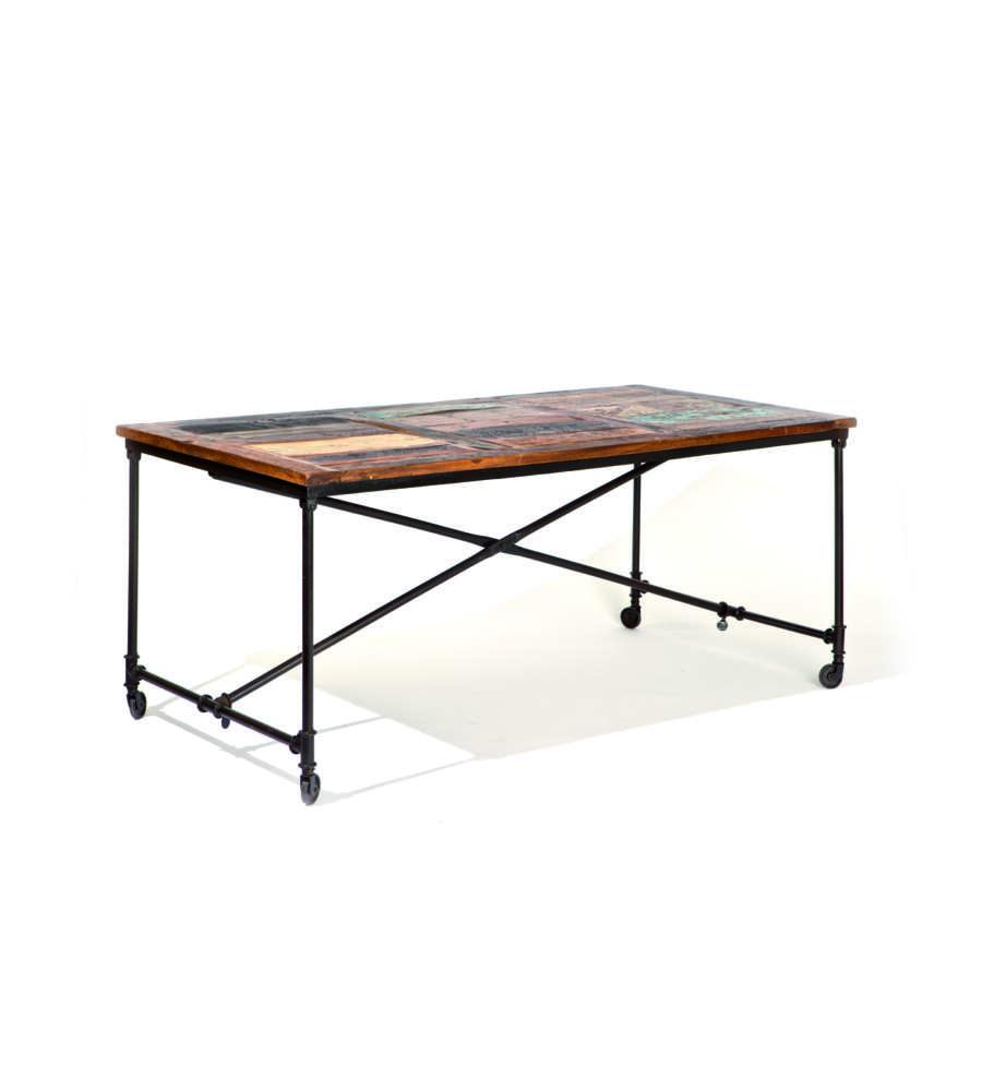 Tavolo con ruote struttura in metallo con effetto etnico - Tavolo con ruote ...
