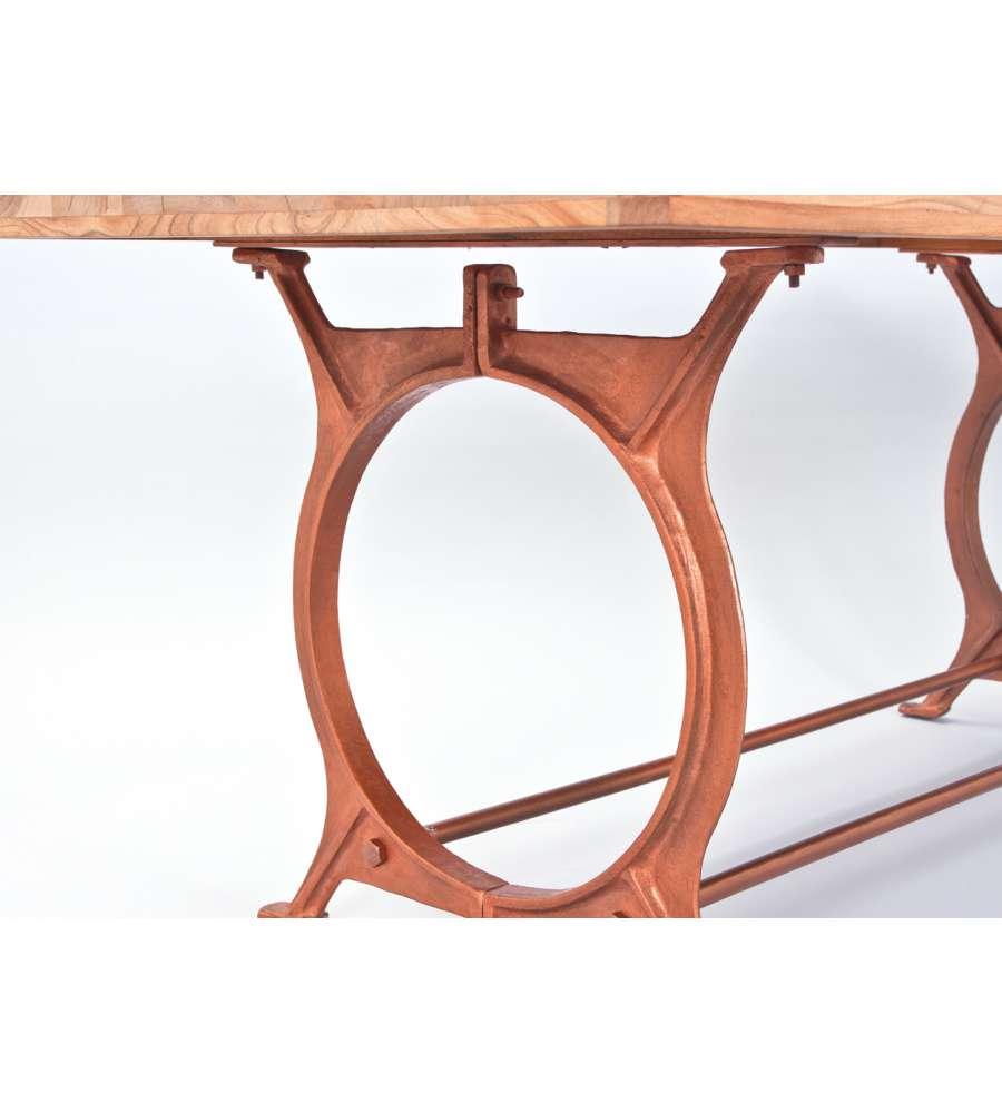 Tavolo Da Pranzo - Top In Legno Massiccio Con Struttura In Metallo Color Rame.