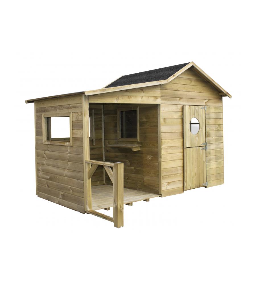 Casetta in legno per bambino ela 240x125x173h cm for Arredo giardino in legno