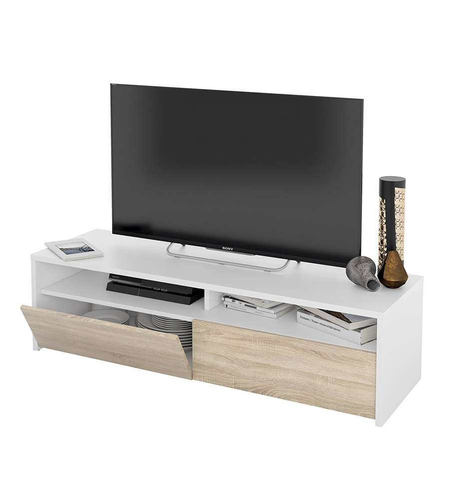 Offerta mobile soggiorno porta tv kioto bianco rovere for Mobile porta tv lago