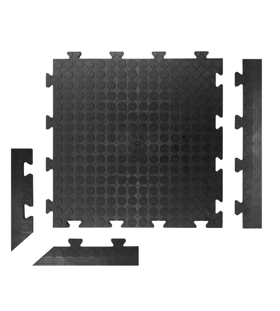 Piastrelle Da Esterno A Incastro piastrella in pvc ad incastro tenax line - 500x500x8 mm - colore nero.