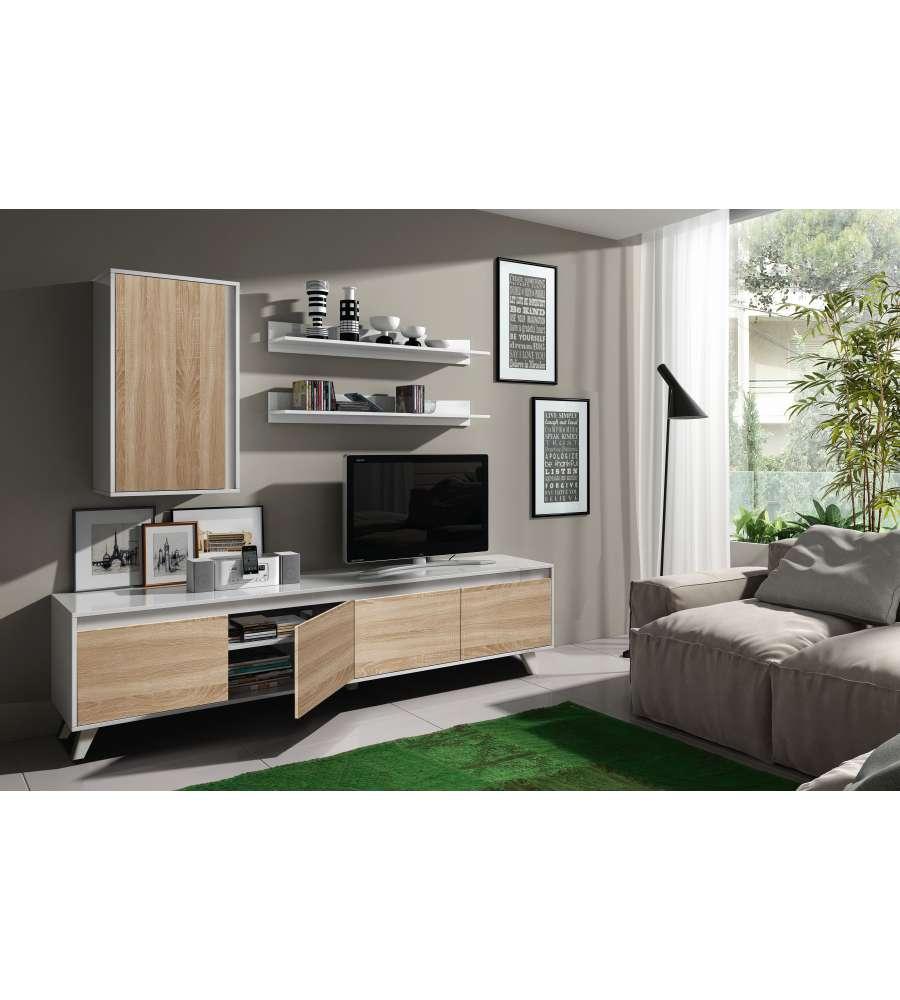 Mobile Parete Soggiorno Porta Tv Colore Rovere Bianco 200x41xh50cm