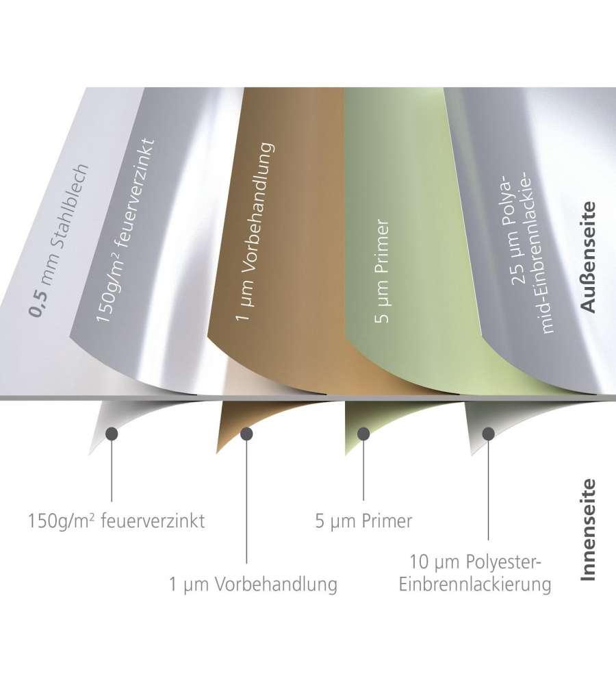 biohort casetta europa 3 in acciaio zincato argento 244 x 156 x 203h. Black Bedroom Furniture Sets. Home Design Ideas