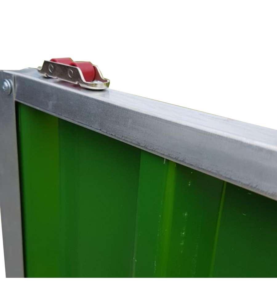 Casetta in lamiera zincata e verniciata di verde con porte scorrevoli xl l267 x p298 x h194 - Casette in lamiera da giardino ...