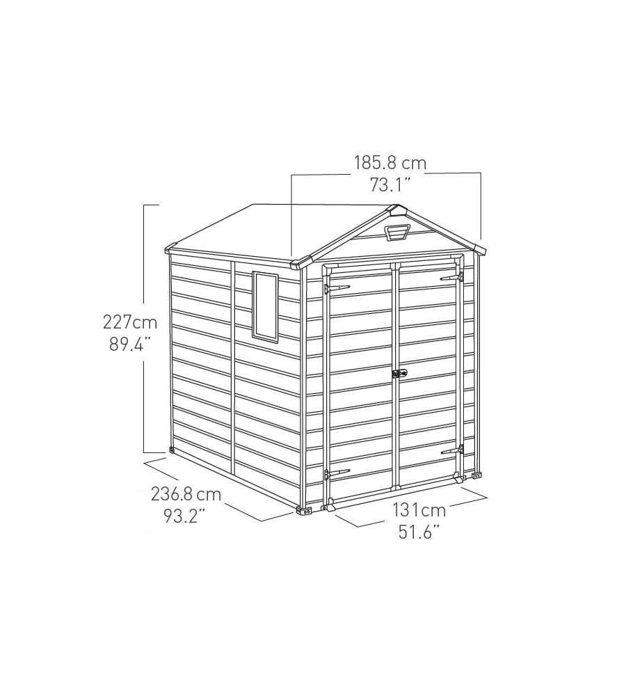 Keter casetta in resina manor 6x8 con due porte e una - Casette da giardino in resina ...