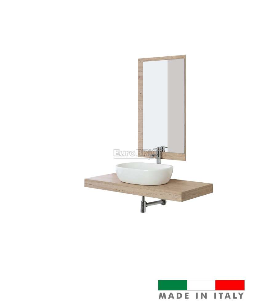 MOBILE BAGNO SOSPESO 'SHELF' DA 120 CM CON CIOTOLA 60 CM FINITURA ROVERE - MADE IN ITALY.