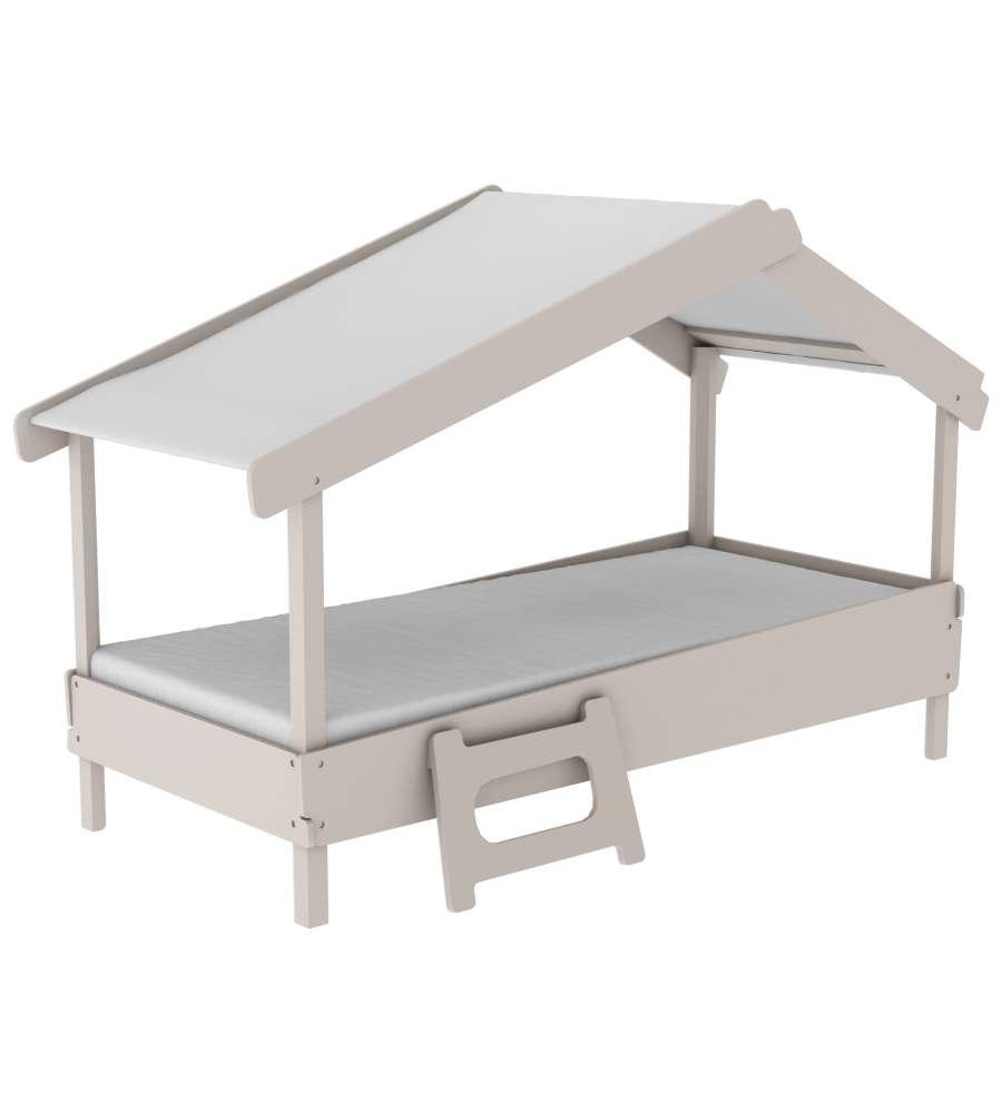 Letto singolo 90x200 con struttura a casetta colore grigio for Struttura letto singolo