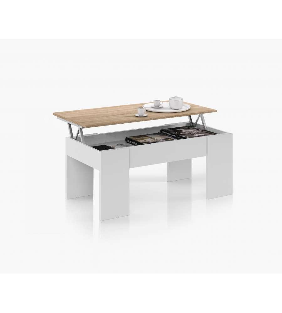 Tavolino Salotto Con Piano Elevabile E Spazio Contenitore - Bianco E ...