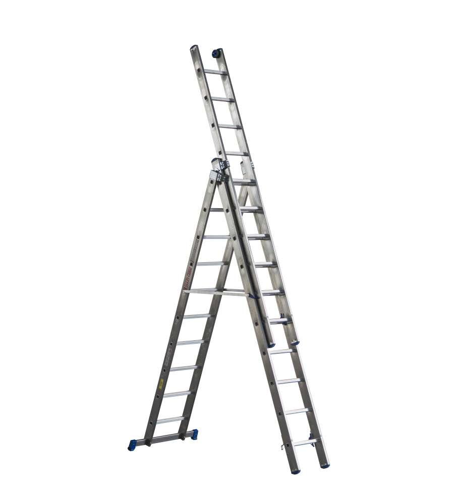 Altezza Gradini Scala scala trasformabile da 3 elementi in alluminio uso professionale - 13 pioli  - altezza massima 8,65 metri.