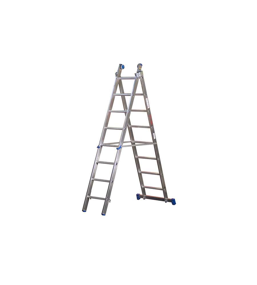 Altezza Gradini Scala scala trasformabile da 2 elementi in alluminio uso professionale - 12 pioli  - altezza massima 6,0 metri.