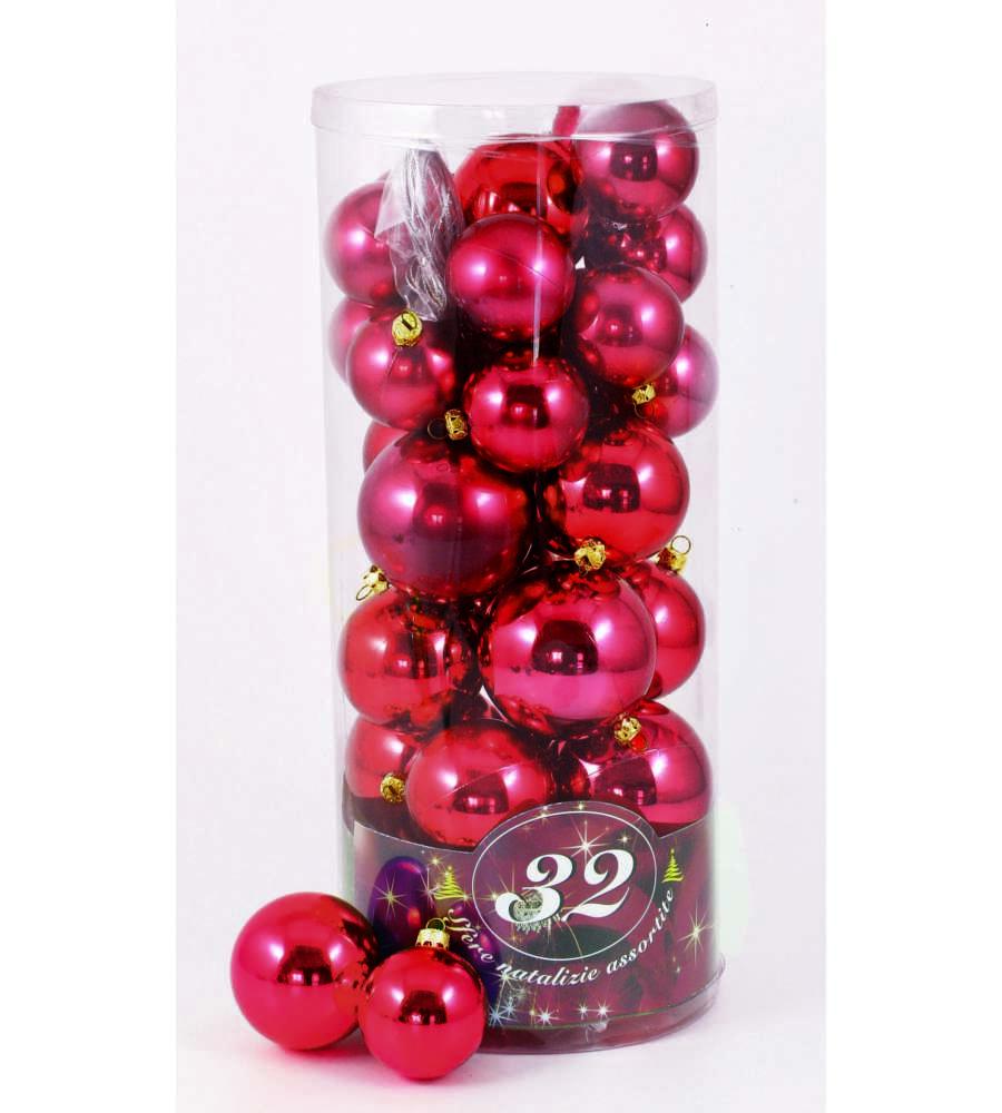 Immagini Di Palline Di Natale.32 Palle Di Natale Rosse Con 3 Diametri