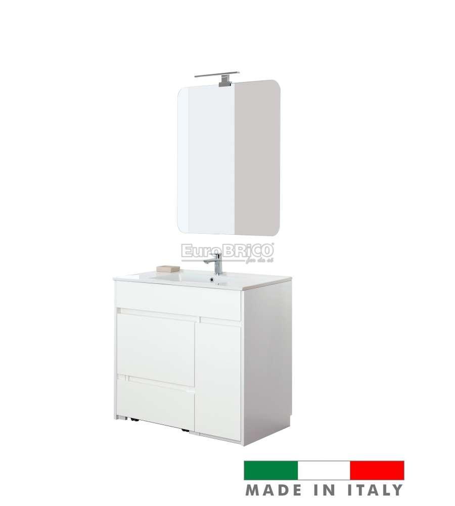 Mobili Da Bagno Brico.Mobile Bagno Family Da 90 Cm Bianco E Bianco Laccato Made In