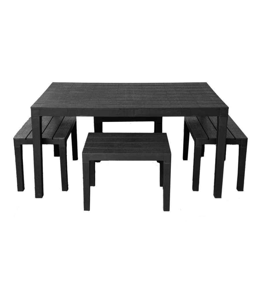1 tavolo sumatra in plastica Samoa Set da giardino composto da 4 panche timor