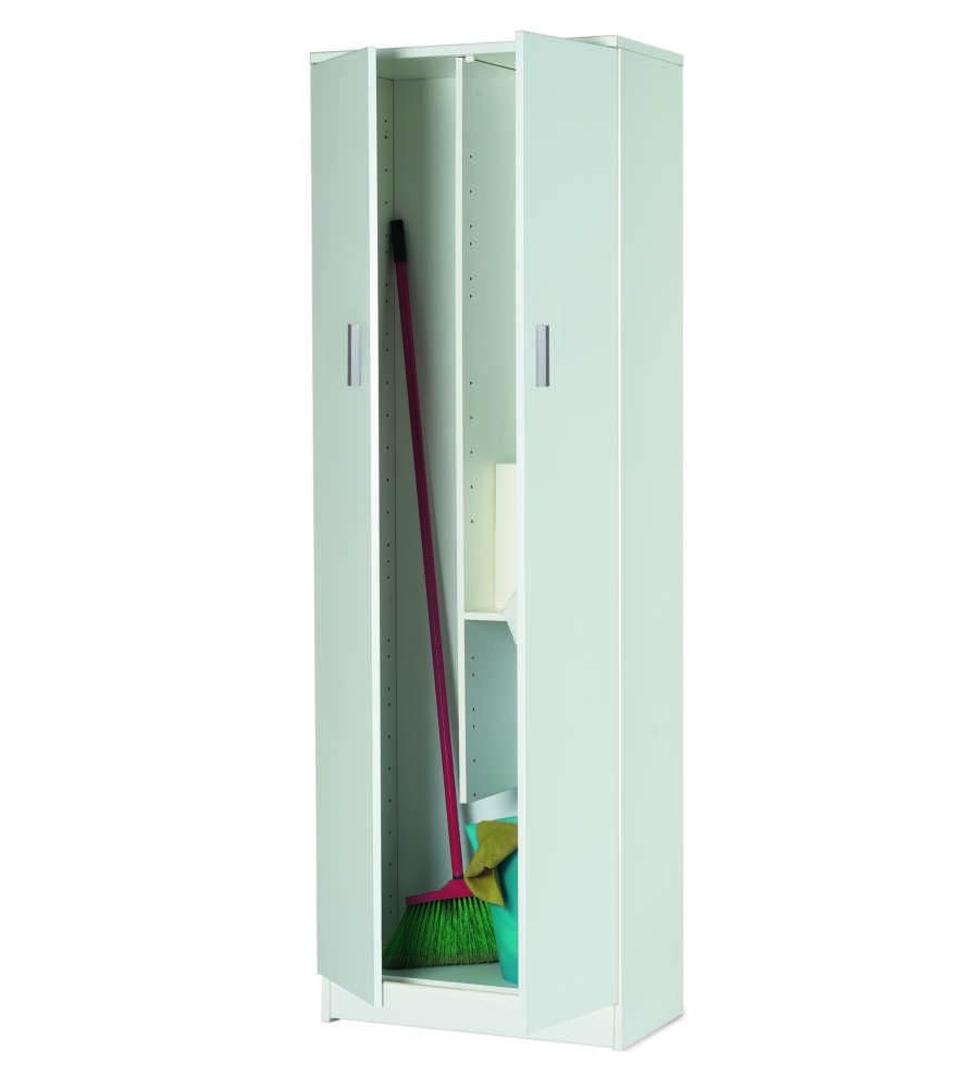 Armadio Porta Scope Colore Bianco Fiammato - L62 X H183 X P34 Cm.