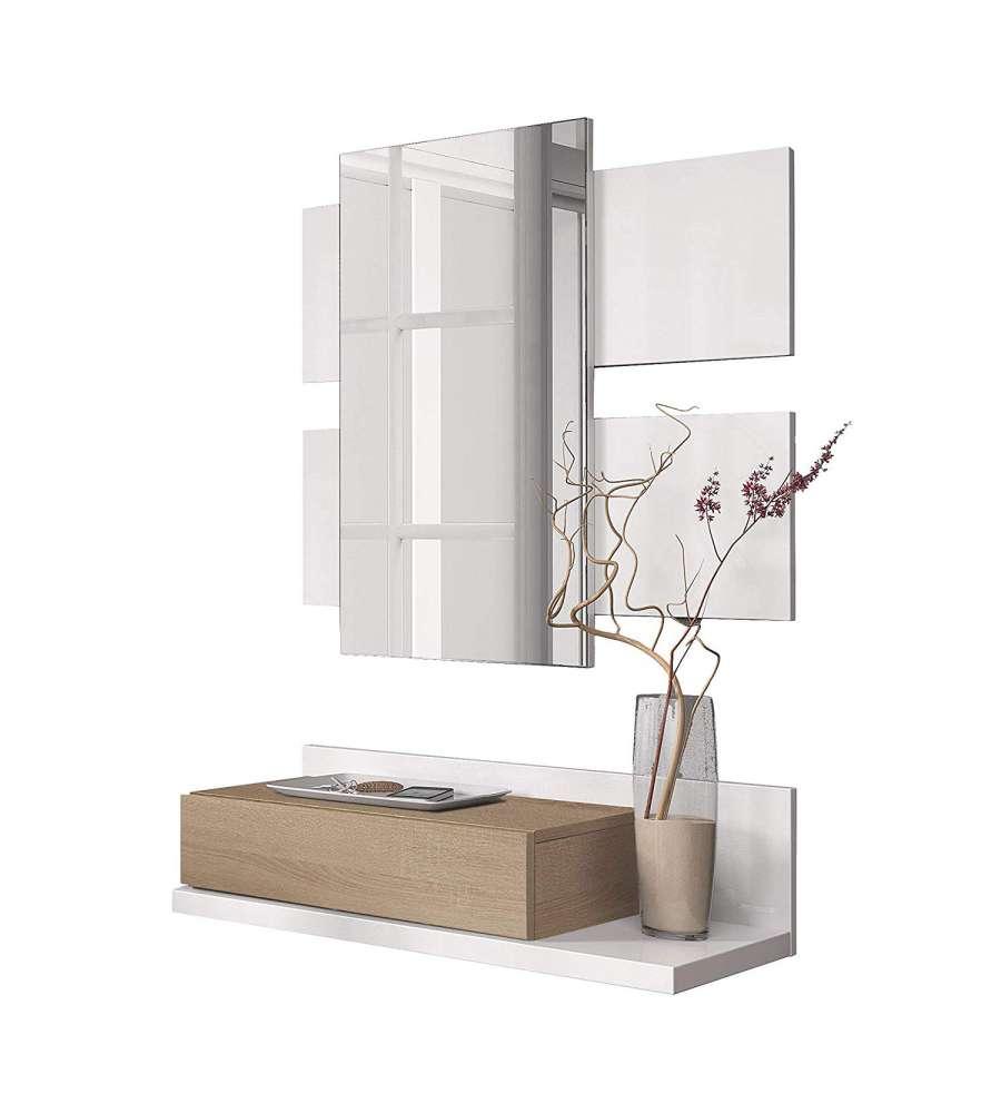 Offerta Mobile Ingresso Moderno Sospeso Con Specchio E Cassetto Bianco E Rovere