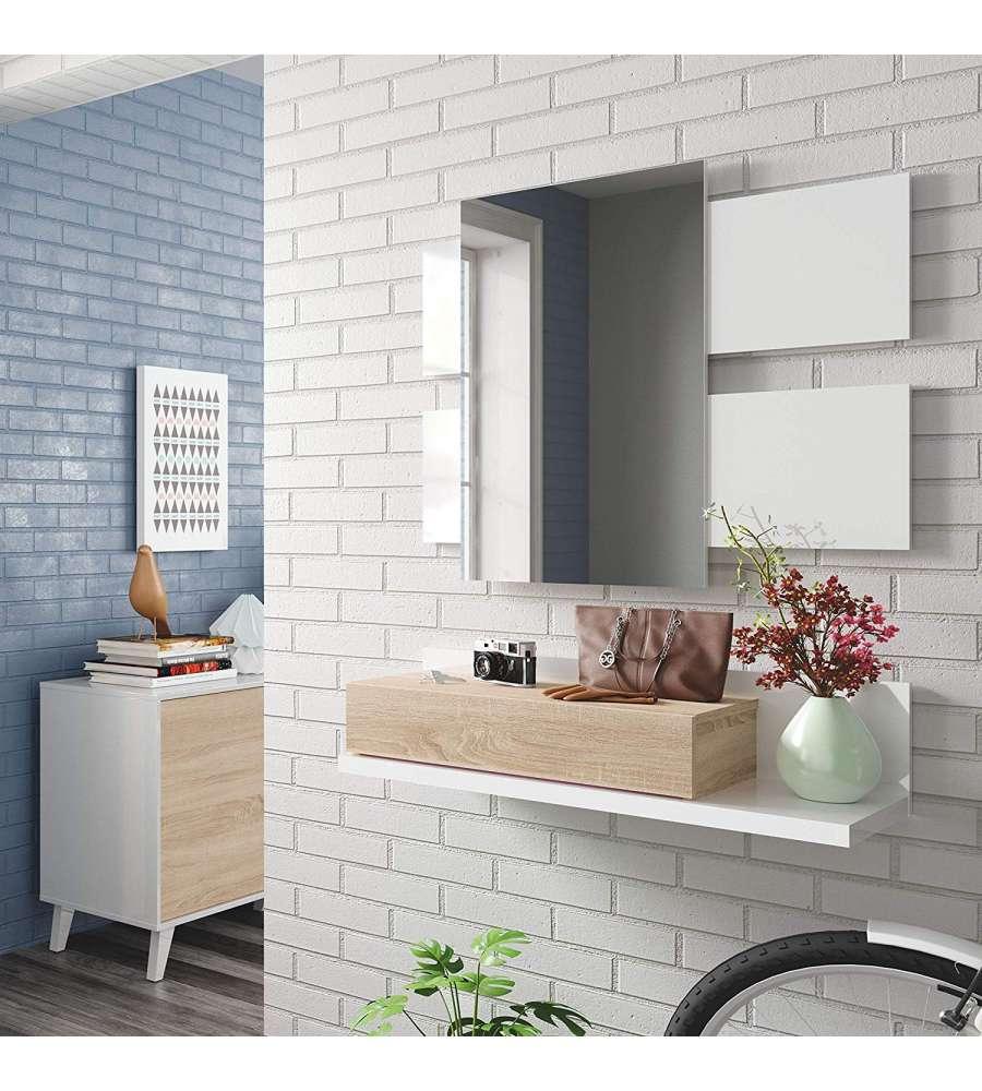 Offerta Mobile Ingresso C Specchio Bianco Rovere