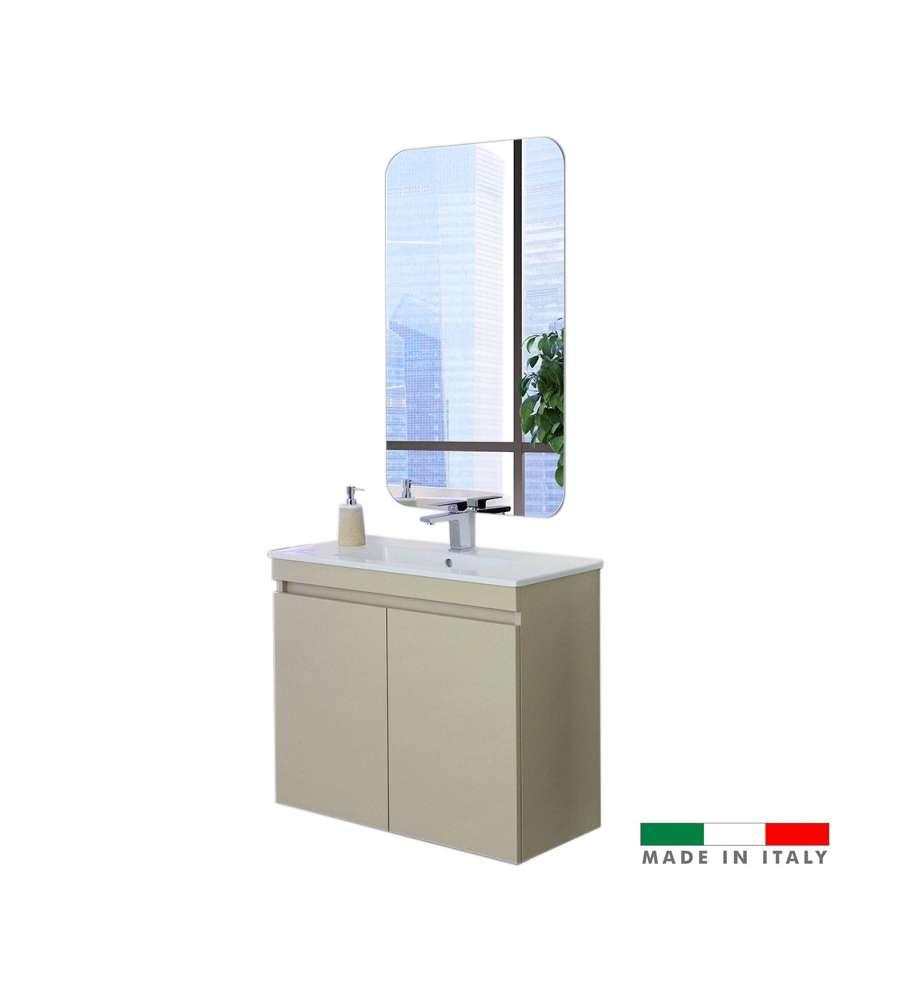 """Composizione Del Colore Tortora mobile bagno sospeso """"pastello"""" da 80 cm con due ante colore tortora - made  in italy."""