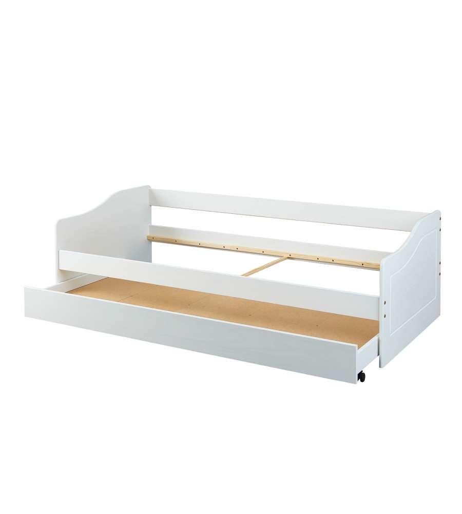 Cuscini Per Divani Ai Ferri divano letto con letto superiore + cassone estraibile (2° letto) in pino  tinto bianco - ll 90 x 190 x 62. rete non inclusa