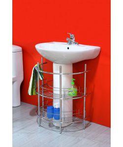 Base lavandino portaoggetti angolare rotondo con 2 ripiani - Lavandino bagno angolare ...