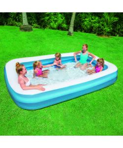 Piscina rettangolare blu a due anelli per bambini bestway for Piscina rettangolare bestway