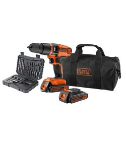 TRAPANO AVVITATORE A PERCUSSIONE BATTERIA 18V LITIO CON 32 ACCESSORI - BLACK & DECKER.