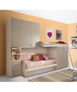 cameretta a soppalco con una colonna e 5 ante colore olmo e visone. Black Bedroom Furniture Sets. Home Design Ideas