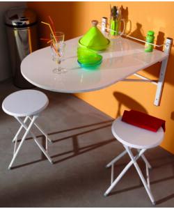 tavolo da parete : SET CON TAVOLO DA PARETE CON 2 SGABELLI COLORE BIANCO. (fronte)