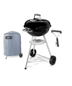 BARBECUE A CARBONE 'COMPACT KETTLE' WEBER CON SPAZZOLA.