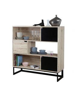 Offerta mobiletto soggiorno quercia nero dim 120x40 for Mdf mobili soggiorno